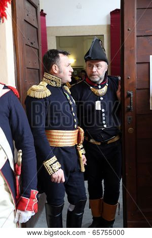 ELBA, PORTOFERRAIO - MAY 03: Marking the 200th anniversary of the arrival of Napoleon in exile with reconstruction by enthusiasts from all over Europe on May 3, 2014 in Portoferraio, Italy