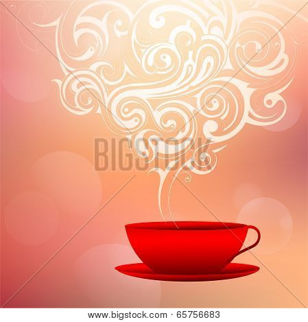 Coffee cup with decorative smoke