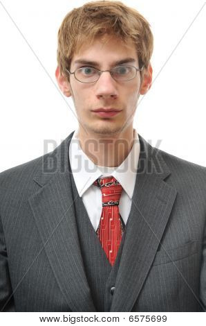 Serious And Direct Objective Man In Suit