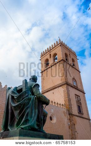 Badajoz,Spain Spring 2014 painter and Cathedral
