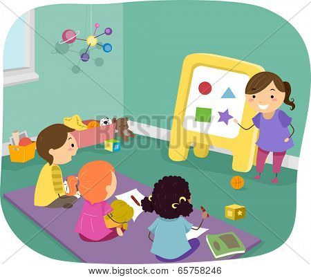 Illustration of Preschool Kids Learning Basic Shapes