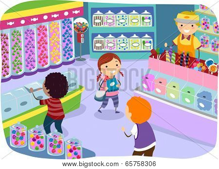 Illustration of Kids Checking the Goods in a Candy Store