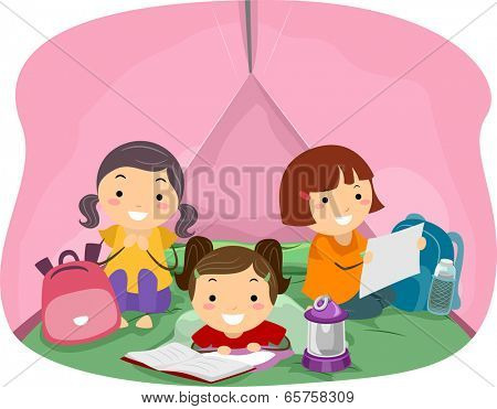 Illustration of Girls in a Pink Camping Tent