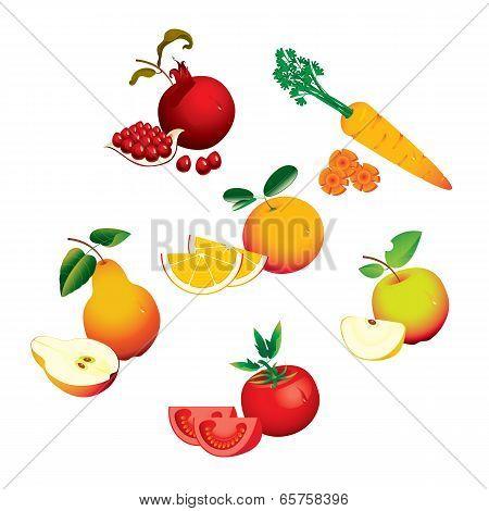 Set of fruits vegetables