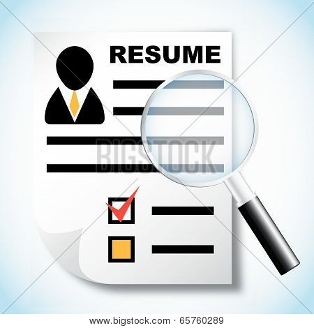 Resume And Magnifying Glass