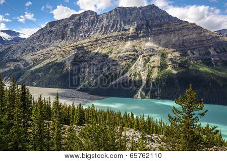 Shadows from clouds moving across Peyto Lake and glacier, Banff National Park, Alberta, Canada