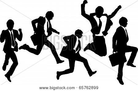 Silhouettes Of Happy Jump And Running Businessmen