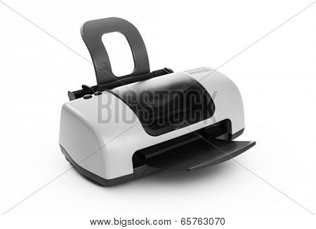 Printer on white background -Clipping Path