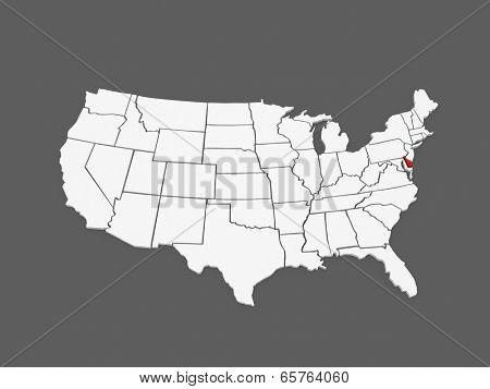 Three-dimensional map of Delaware. USA. 3d