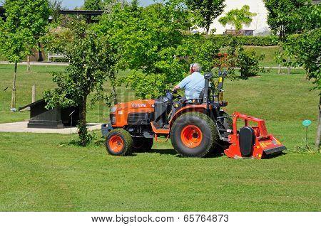 Gardener mowing lawn.