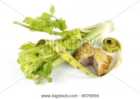 Celery With Pork Pie And Tape Measure