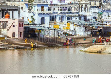 Pilgrims Take Ritual Bathing In Holy Lake On In Pushkar