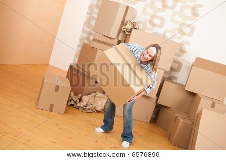 Moving House: Woman Holding Big Carton Box