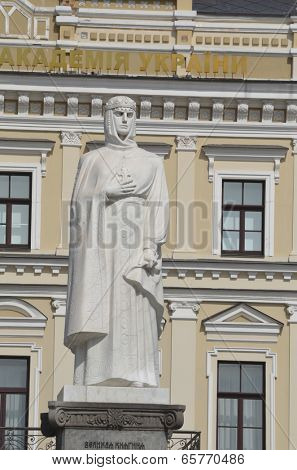 KIEV, UKRAINE -APR 29, 2014:Monument to Princess Olga, St. Apostle Andrew the first-called and equal to the apostles Cyril and Methodius in Kiev .April 29, 2014 Kiev, Ukraine