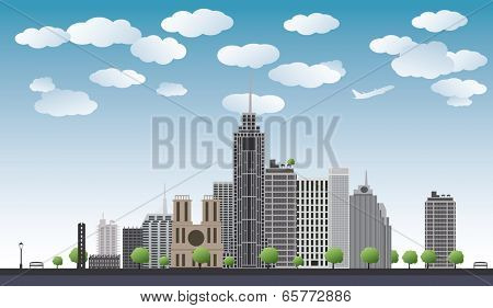 An imaginary big city with skyscrapers, blue sky,trees. vector illustration