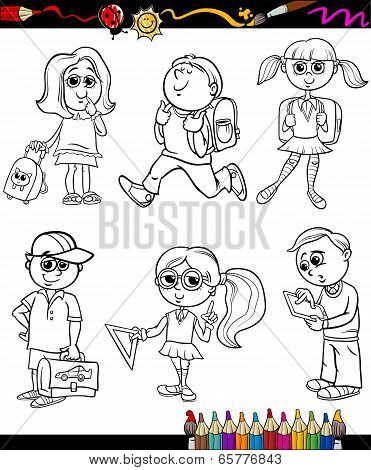 School Kids Group Cartoon Coloring Book