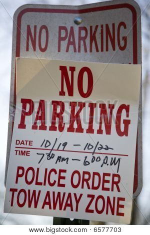 Double No Parking Sign