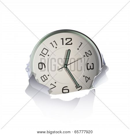 Watch Inside Hole Paper Over White Background