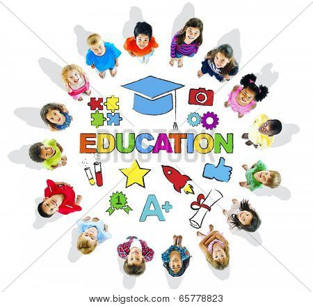 Group of Multiethnic Children with Education