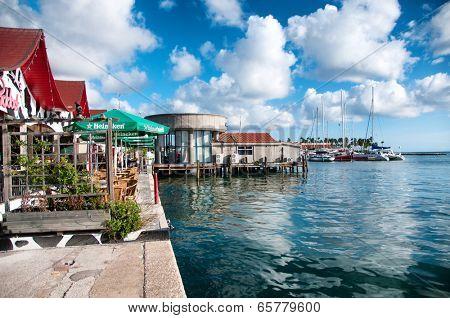 ORANJESTAD, ARUBA, CARIBBEAN - DEC 2013: House exteriors at Oranjestad on Aruba in Dec 2013