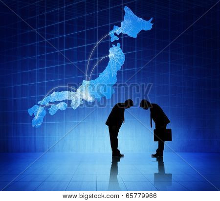Two business people bowing heads to each other and a japan cartograph above them.