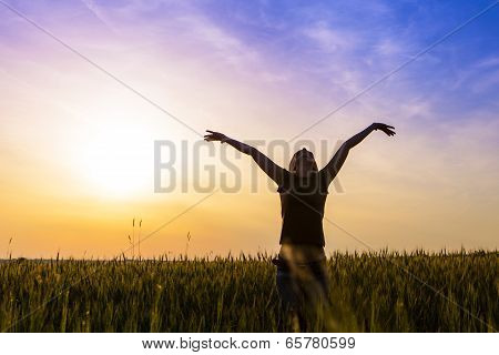 Cheerful Girl In The Outdoors, Enjoying The Freedom.