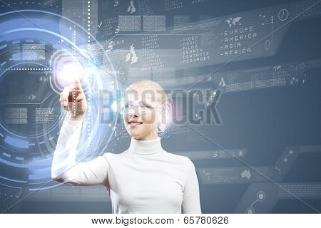 Woman in white touching icon of media screen