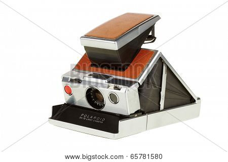 PRAGUE, CZECH REP - MAY 28, 2014: Polaroid Land camera SX-70 for instant photography from the year 1972.
