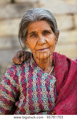 BHAKTAPUR, NEPAL, NOVEMBER 27 : close portrait of an old Nepalese woman in  Bhaktapur, Nepal on 27 November 2010