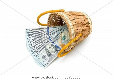 Dollars In Basket Isolated On White Background