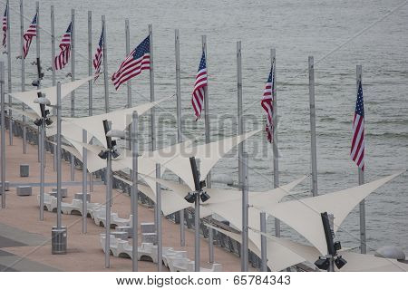 Line Made Of A Chain Of The United States Of America National Flags Set On Uss Intrepid Aircraft Car