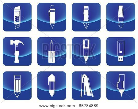 Simple stationery button vector include pen, pencil