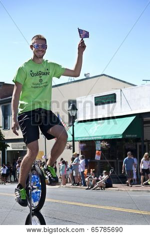 The Unistars Unicycling Showtroupe performing in the Memorial Day Parade in Warrenton, Virginia.