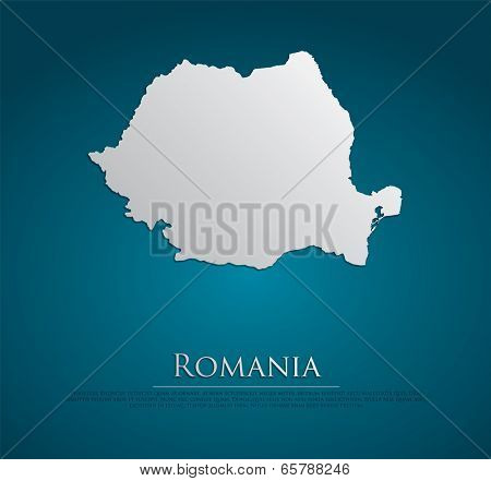 vector Romania Map card paper on blue background, high detailed