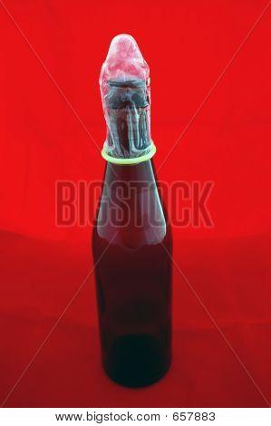 Condom On Beer Bottle