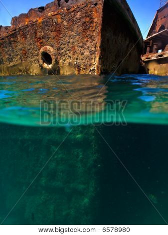 Underwater Views Of Rusty Shipwrecks At Moreton Island, Australia