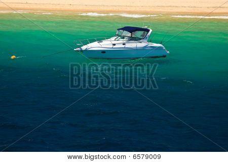 Sailboat Moored Near Beach on Moreton Island Australia