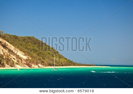 Coastline Of Moreton Island Australia
