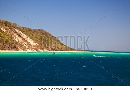 Sailboat On Coast Of Moreton Island Australia