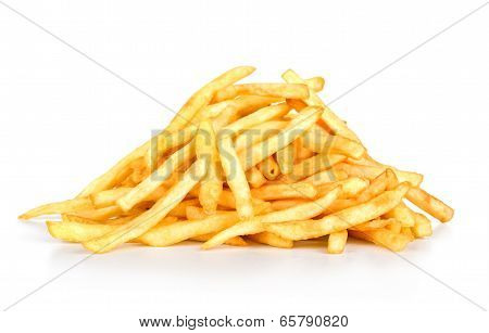 French fries in white box on white background