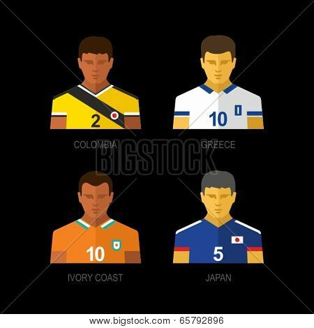 Soccer team players. Colombia, Greece, Ivory Coast, Japan.