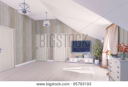 Interior hall attic (3D rendering)