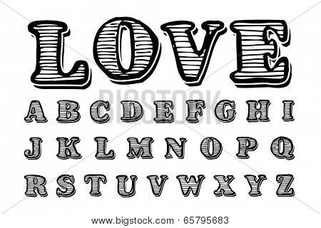 Textured hand drawn alphabet, vector
