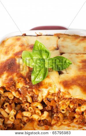 Macaroni Bolognese Sauce With Cheese On Top