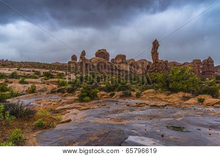 Puddles Of Water After Rainstorm In The Arches National Park