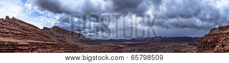 Panoramic Shof Of The View From The Hurrah Pass Trail Moab Utah