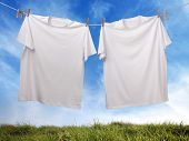 picture of clotheslines  - White t - JPG