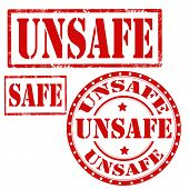 picture of unsafe  - Set of grunge rubber stamps with text Unsafe and Safe - JPG