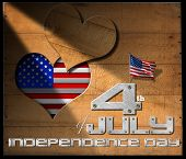 picture of state shapes  - Wooden wall with a hole in the shape of heart US flag interior and phrase - JPG