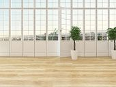 stock photo of windows doors  - Living room interior with a panoramic view window with cottage pane glass and a door opening onto a balcony with wooden parquet floor and two ornamental topiary houseplants - JPG